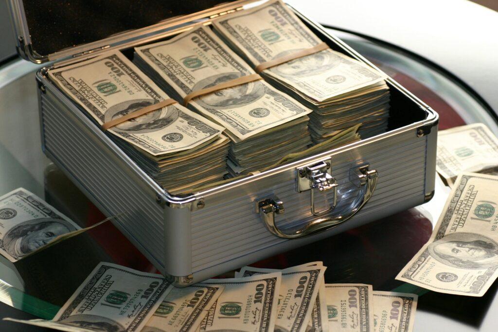 Hundred dollar bills in a case